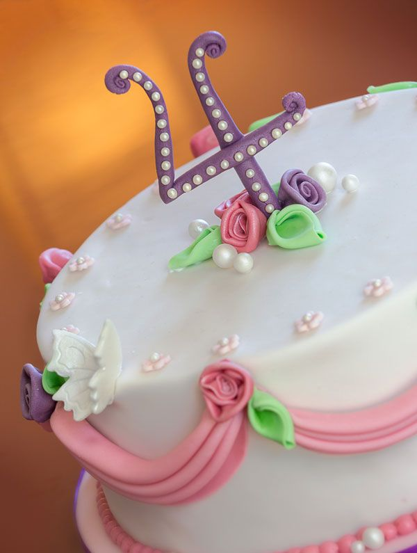 Pink girly cake for a little girls fourth birthday Chloes