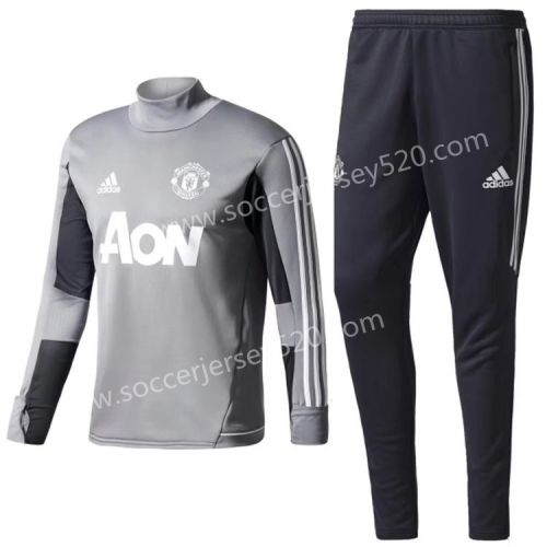 2017/18 Manchester United Gray Thailand Soccer Tracksuit