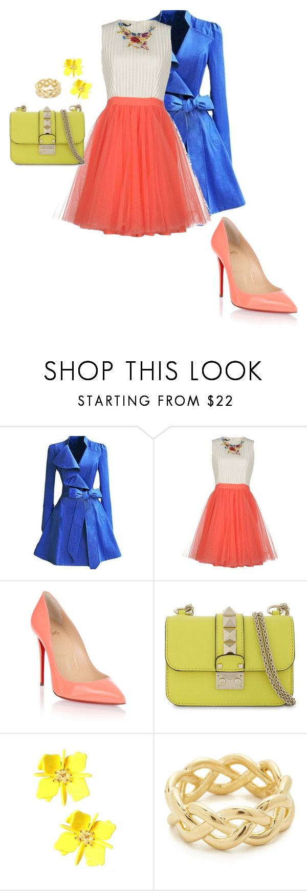 """ASCANIA"" by saretasareta on Polyvore featuring WithChic, Alex Vidal, Christian Louboutin, Valentino and Soave Oro"