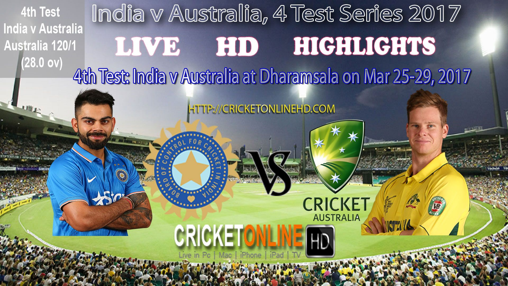 IndVsAus 4th Test at Dharamsala Day1, Australia 131/1