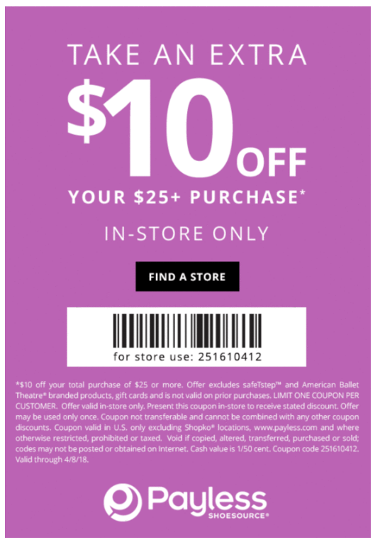 picture regarding Payless Printable Coupons identify Payless Coupon: $10 Off $25+ (Within-Retail store) Printable Coupon codes