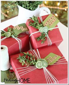 Gift Wrap Ideas: Buttons & Boxwood | Wrapping ideas, Christmas ...