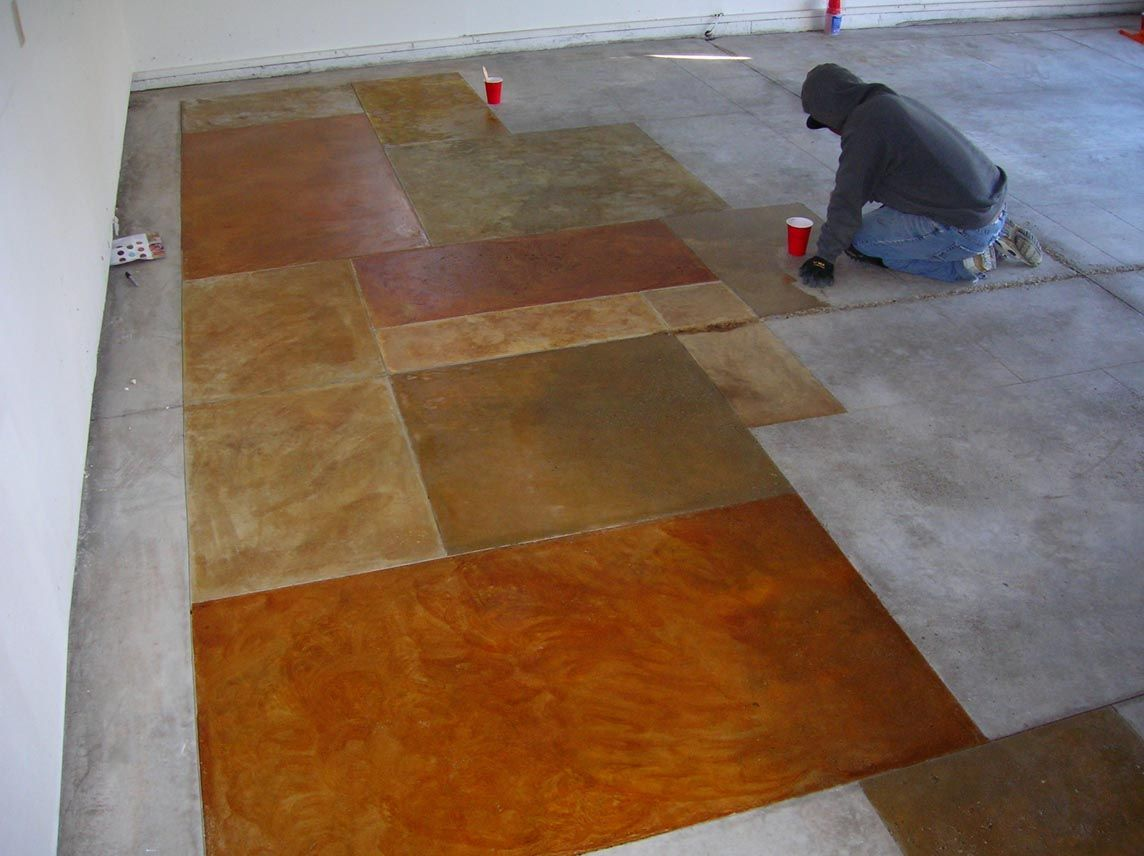 Stained Concrete Another Inexpensive Basement Flooring