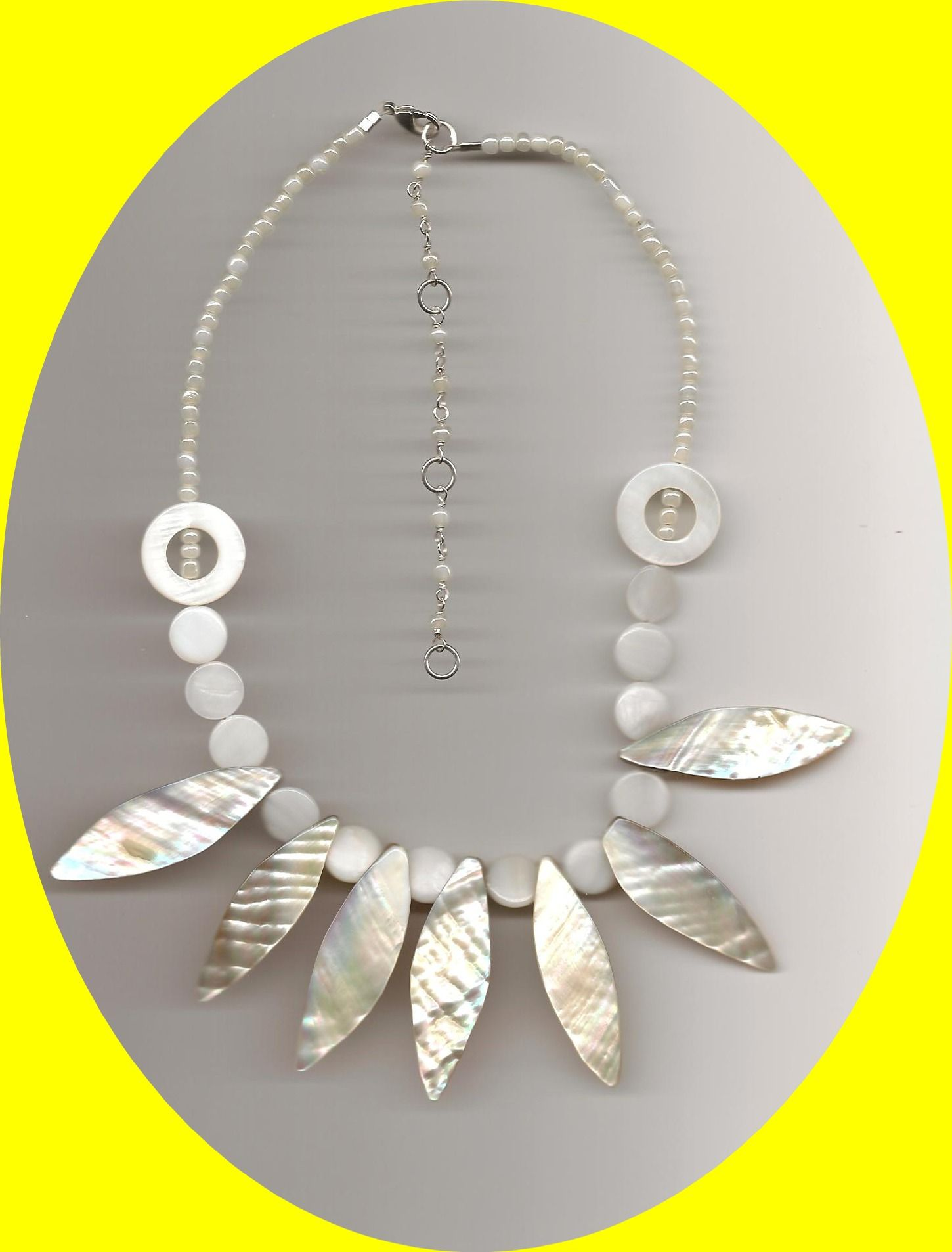 EDE Mother of Pearl Elongated Shell Necklace http://www.edenterprises.biz/MOP%20Elongated%20Shell%20Necklace2.jpg
