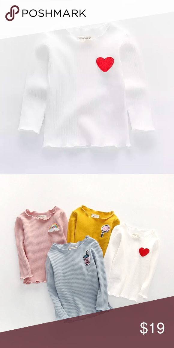 cd0dc7909 NWT Baby Girl Cute Ribbed White Heart Shirt Top Beautiful long sleeve Top  for Girls Red Heart Design New with Tags Shirts & Tops Tees - Long Sleeve