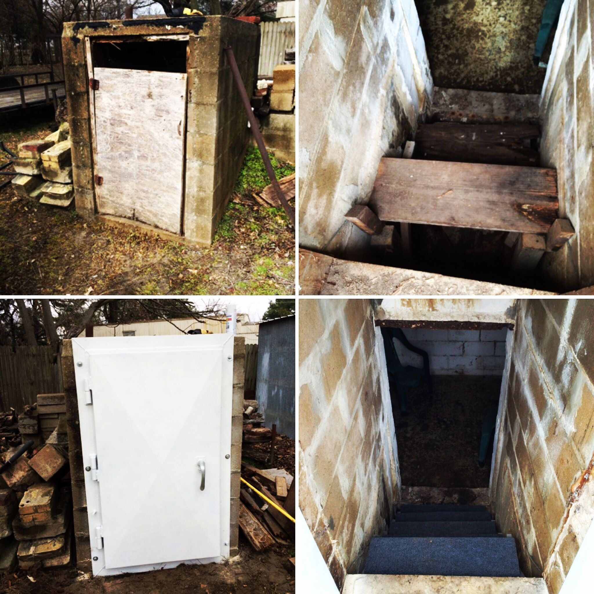 Before and after of a wood storm cellar door and a new