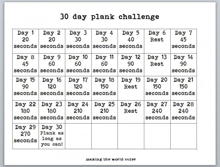30 Day Plank Challenge Chart