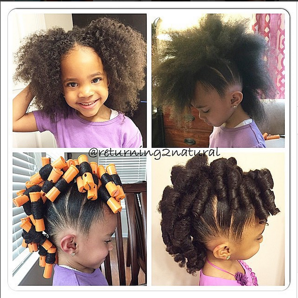 Strange Cute Little Girls Hairstyle Mohawk With Flexi Rods Super Cute Natural Hairstyles Runnerswayorg