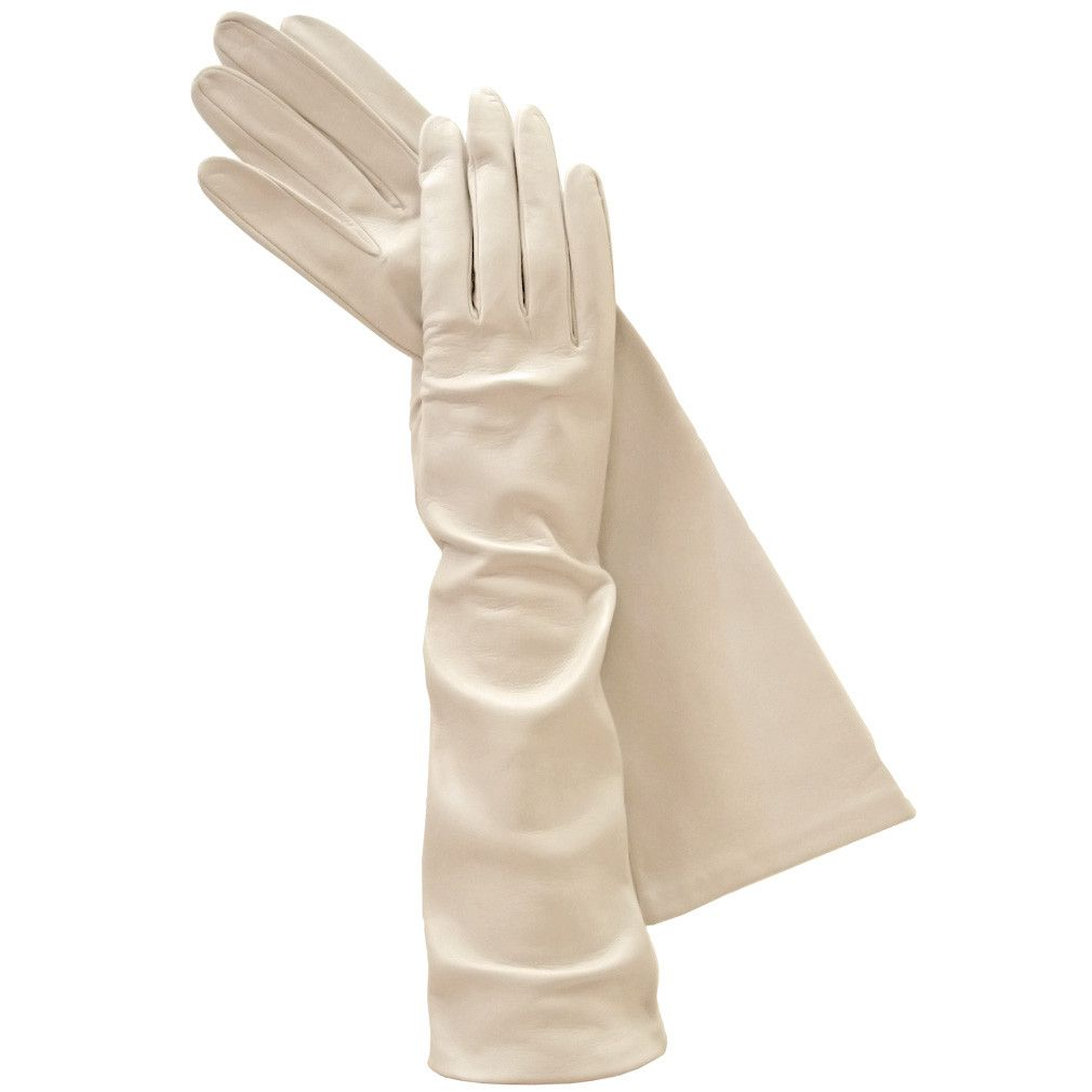 Black leather gloves buttons - Long Beige Italian Leather Gloves Elegant Exotic Silk Lined 8 Button