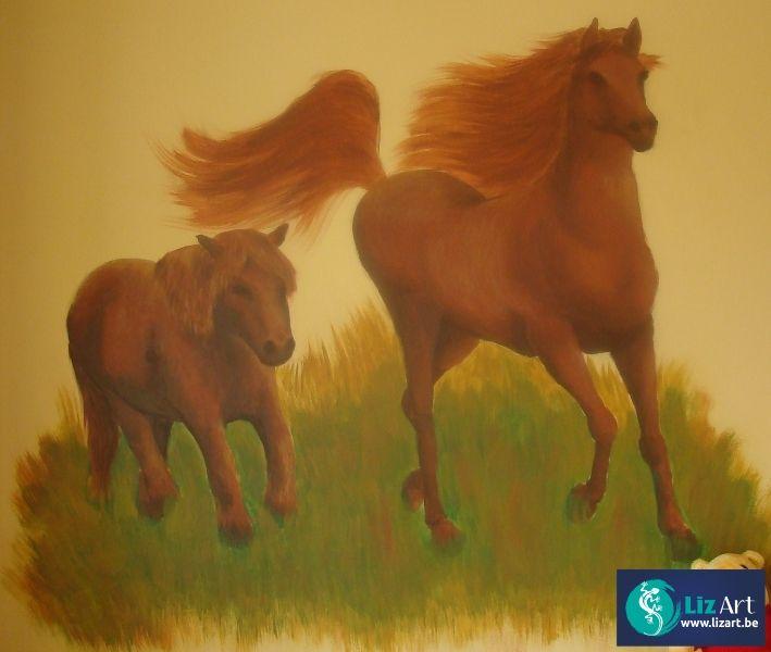 Muurschildering van 2 paarden