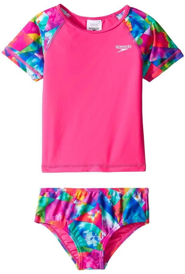 222649aeb9 Speedo Kids Printed Short Sleeve Rashguard Two-Piece Swimsuit Set Girl's  Swimwear Sets