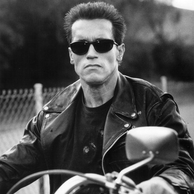 778d34c5bc5 Arnold Schwarzenegger in Terminator 2: Judgment Day (1991) Looks like he's  wearing Ray