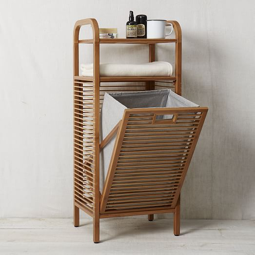 Bamboo laundry hamper ritz west elm 15 7 w x 11 8 d x 37 4 h bedroom pinterest laundry - Laundry hampers for small spaces plan ...