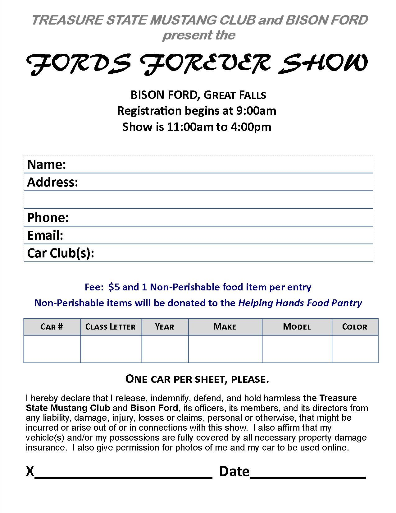 Fords Forever Car Show Registration Form To PreRegister