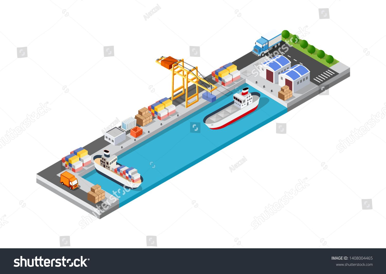Port cargo ship transport logistics seaport vector template with an isometric illustration. The sea with crane container and vessel. #Sponsored , #AD, #logistics#seaport#vector#transport
