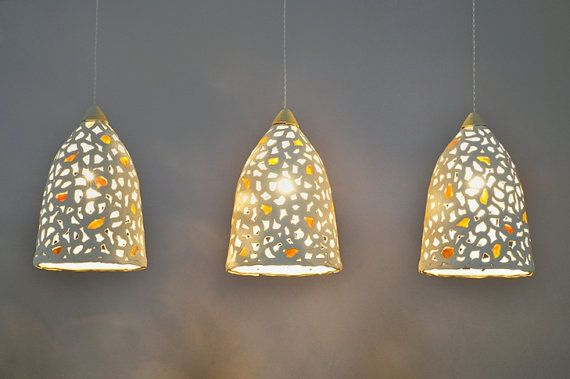Hanging Lamp Shades Lighting 3 Ceramic Pendant Light Fixture