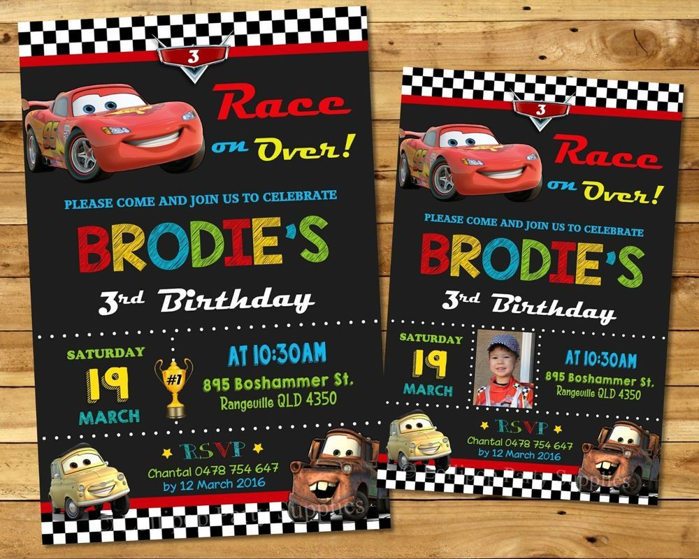 CARS PERSONALISED INVITATION BIRTHDAY PARTY SUPPLIES ANY AGE LIGHTNING MCQUEEN CUSTOMINVITATION Birthday