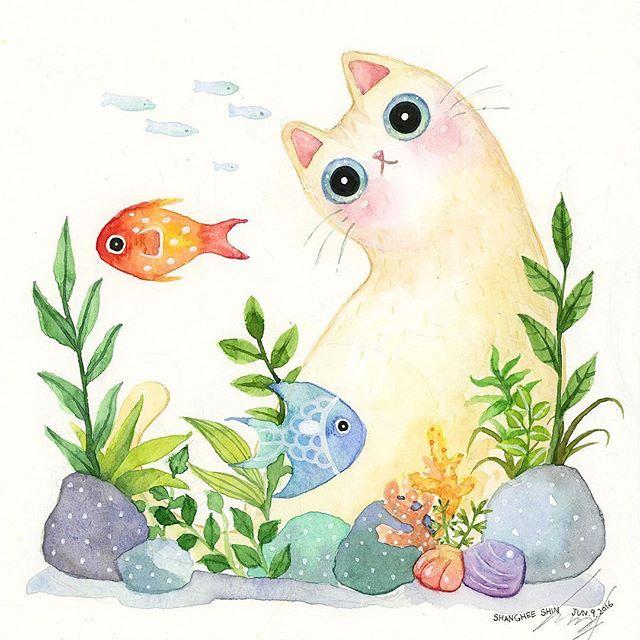 "The Aquarium Cat (7"" x 7"") #art #paint #watercolor #watercolour #illustration #creative #artwork #artist #concept #conceptart #design #cat #whitecat #mycat #fish #aqua #aquarium #plant #water #underthesea #cute #peace #joy #손그림 #고양이 #물고기 #イラスト#일러스트"