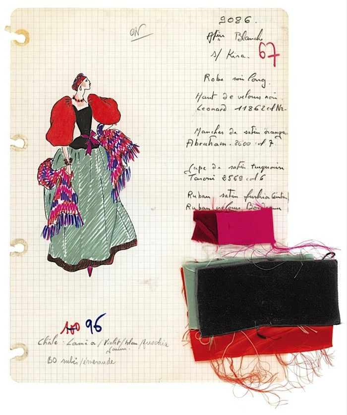Original sketch with notes and swatches, Evening Gown, Fall-Winter 1976. Foundation Pierre Bergé-Yves Saint Laurent