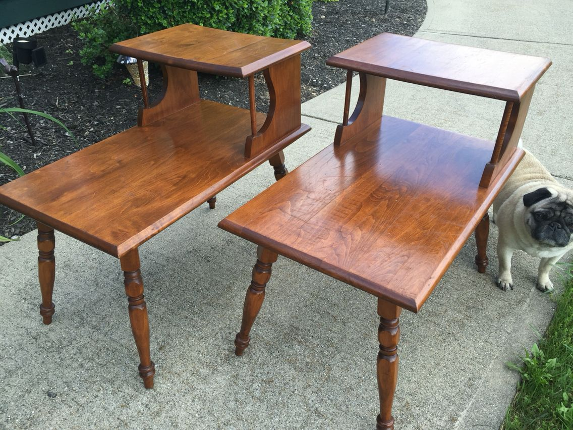 Pair 1960 S Rock Maple Two Tier End Tables Maple Tables End Table Makeover End Tables