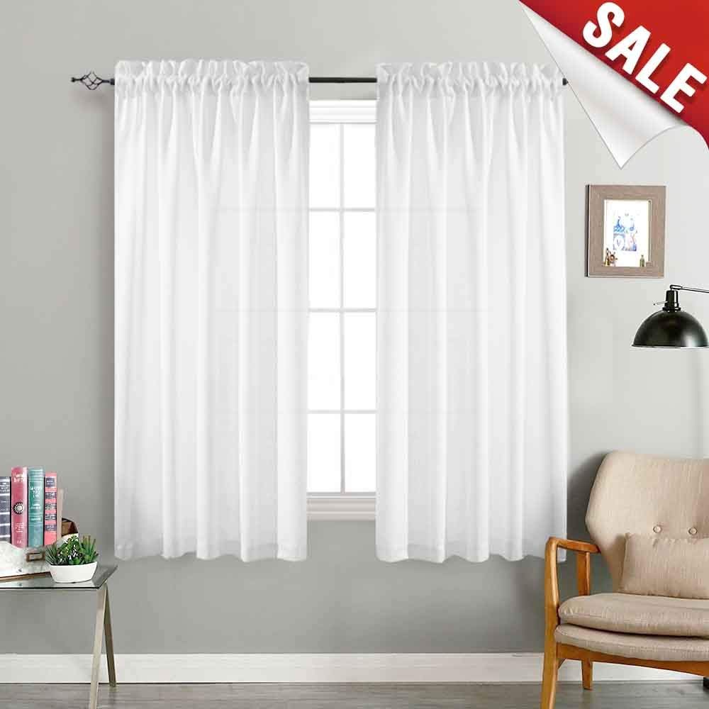 Amazon Com White Curtains 63 Inch Bedroom Window Curtains Living Room Drapes Linen Textured Casual We Curtains Living Room White Curtains White Sheer Curtains