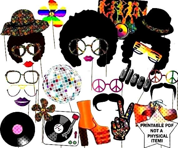 Photo booth props quotDISCO PARTY PROPSquot Hippie Party Disco Fever Disco ball Afro Wig... 70s PaParty