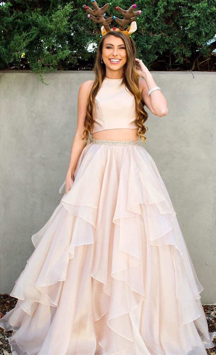 Simple two piece prom dresseshalter piece long prom dresses