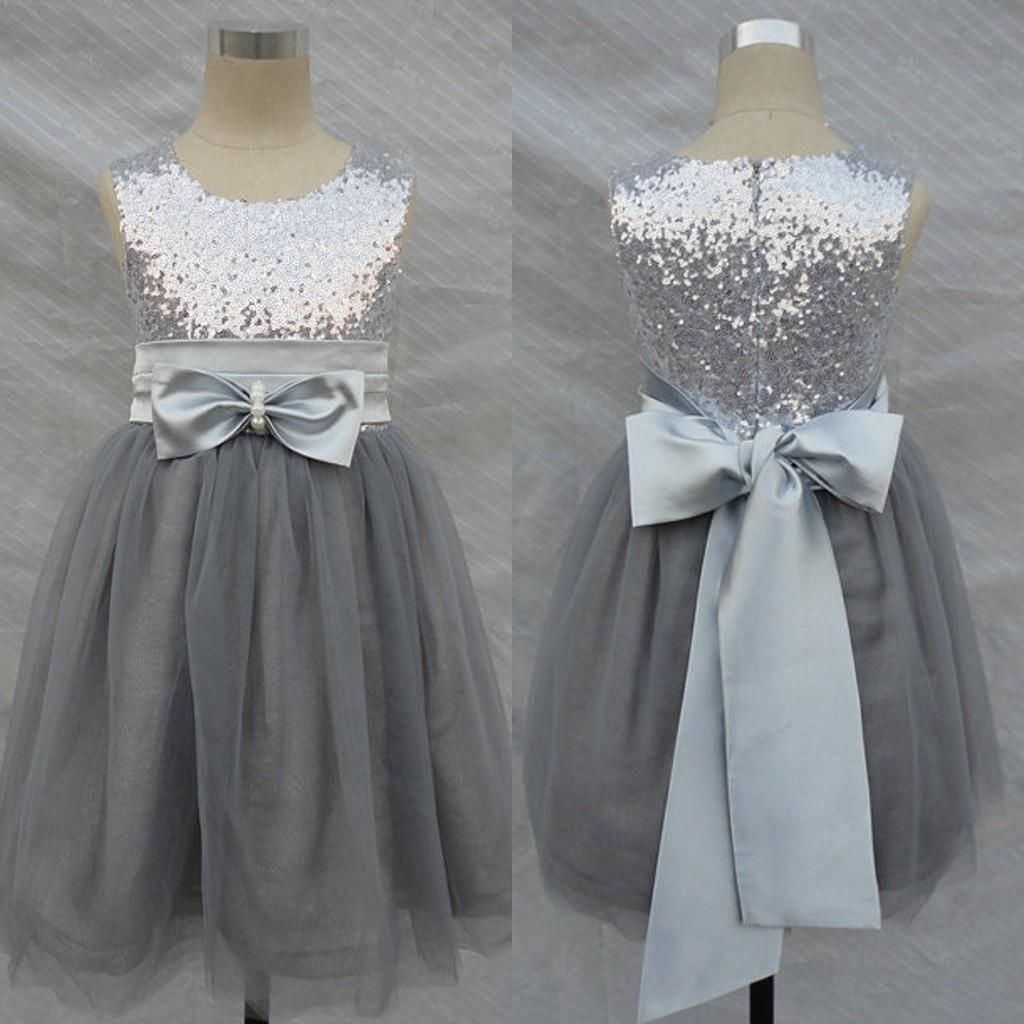 Bling bling flowers girl dresses wedding silver grey for Flower girls wedding dress