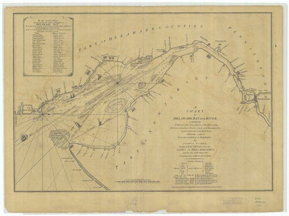Delaware Bay & River Map 1776 in 2019 | Products | Delaware bay, Map on