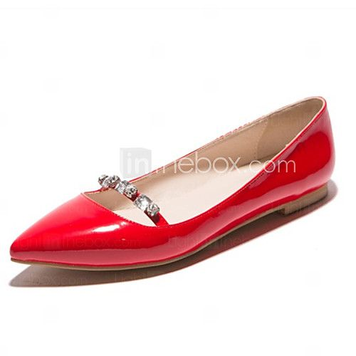 Women's Shoes Patent Leather Flat Heel Pointed Toe Flats Wedding / Party &  Evening / Casual Black / Red / Almond 2018 - $24.99