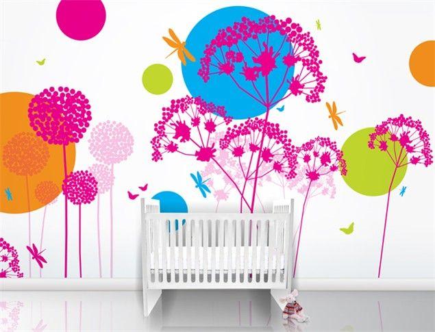 girls room wall paper | Funky wallpaper, Kid room decor, Mural