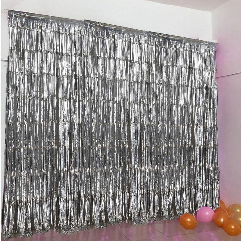 sparkling metallic foil fringe curtain