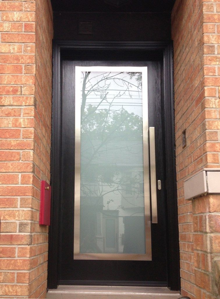 Single entry door from Thermoluxe contemporary collection with stainless steel  frame on top of glass insertsSingle entry door from Thermoluxe contemporary collection with  . Entry Door Steel Frame. Home Design Ideas