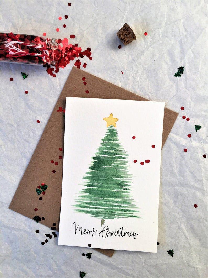 Satz von 5 Karten Frohe Weihnachten Grußkarte handgemachte Karte Aquarell Weihnachtsbaum Karte traditionelle einfache minimalistische Weihnachtskarte 6 x 4
