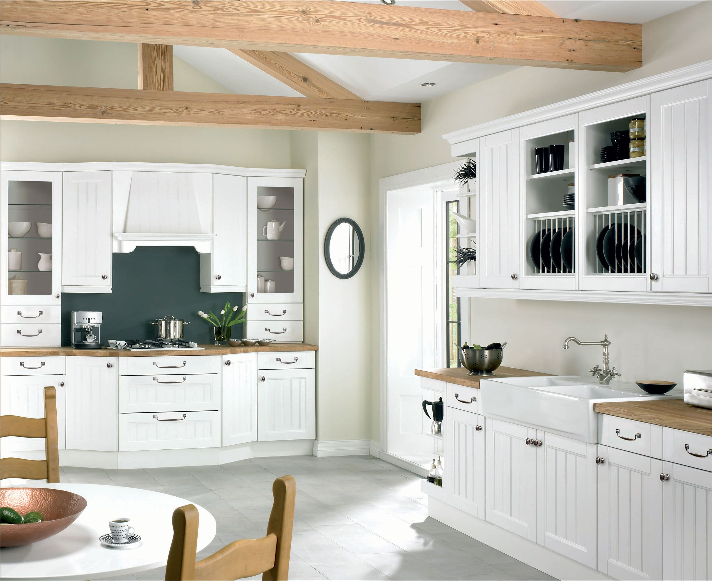 Kitchen. White Plain Kitchen Collection And Round Table Set Under Wooden  Roof Frame: Various