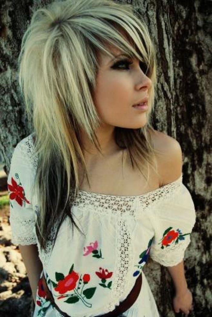 Medium Black Blonde Hair Hair Styles Emo Girl Hairstyles Blonde Scene Hair