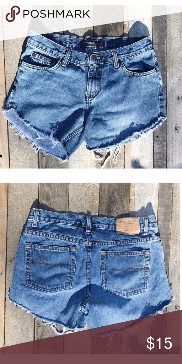 AEO Cutoff Shorts Light wash, mid rise AEO cutoffs. Hand cut and frayed. Fitted and super cute! American Eagle Outfitters Shorts Jean Shorts