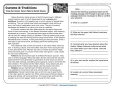 Customs And Traditions Reading Comprehension Reading