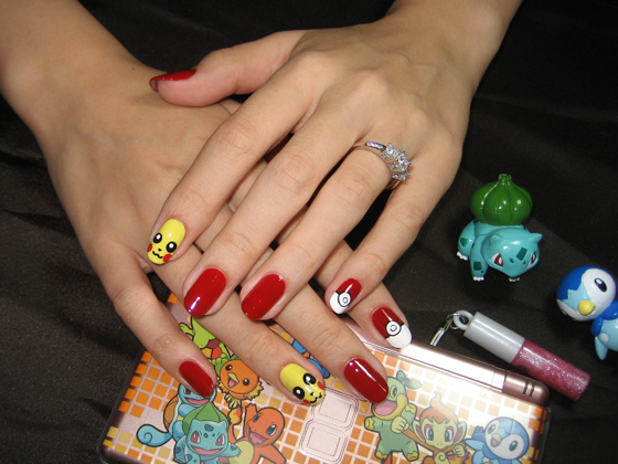 Pokemon nails! I wonder what I'd hear if I walked into a nail salon and asked for this...
