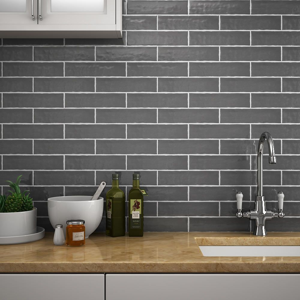 Mileto Brick Grey Gloss Ceramic Wall Tile 75 X 300mm Pack Of 25 Kitchen Wall Tiles Ceramic Wall Tiles White Kitchen Tiles