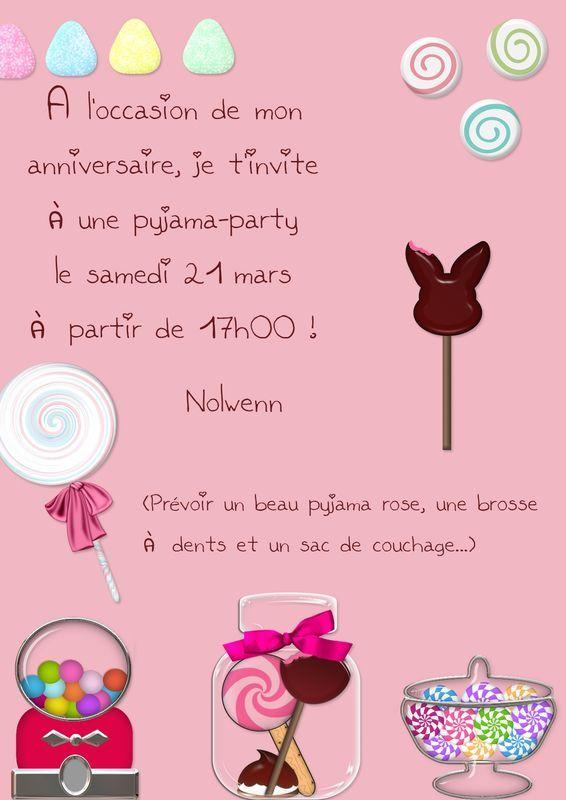 pin invitation soiree pyjama a imprimer