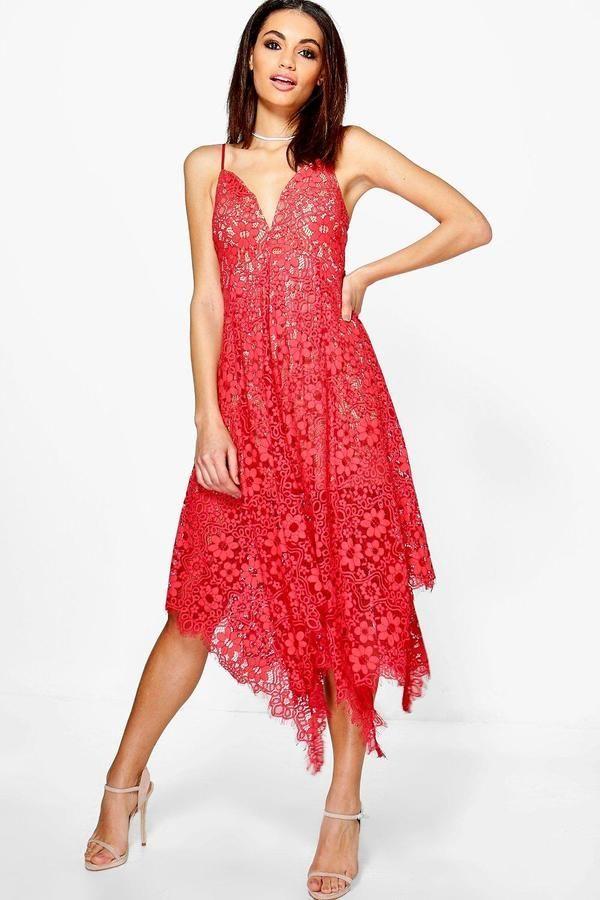 2dd3ea1300df boohoo Boutique Amy Eyelash Lace Plunge Midi Dress | Fancy Ticklers ...