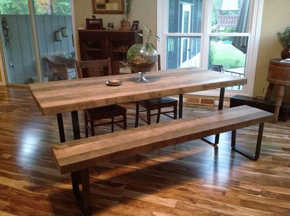 Dining Table U0026 Bench Set   Reclaimed Wood   White Oak With Industrial Steel  Legs     X W X