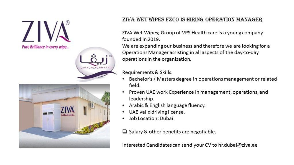 Operation Manager UAE Job Openings in 2020 Operations