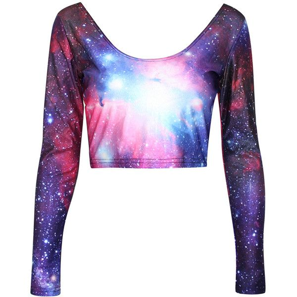 1ff56a5bf5511a Purple Classic Womens Galaxy Long Sleeves Crop Top ( 17) ❤ liked on  Polyvore featuring tops