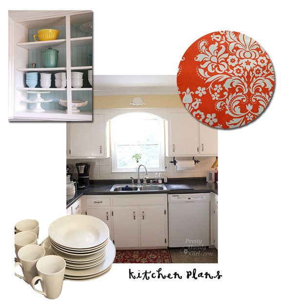 Then you can line your doorless cabinets with fabric for a ...