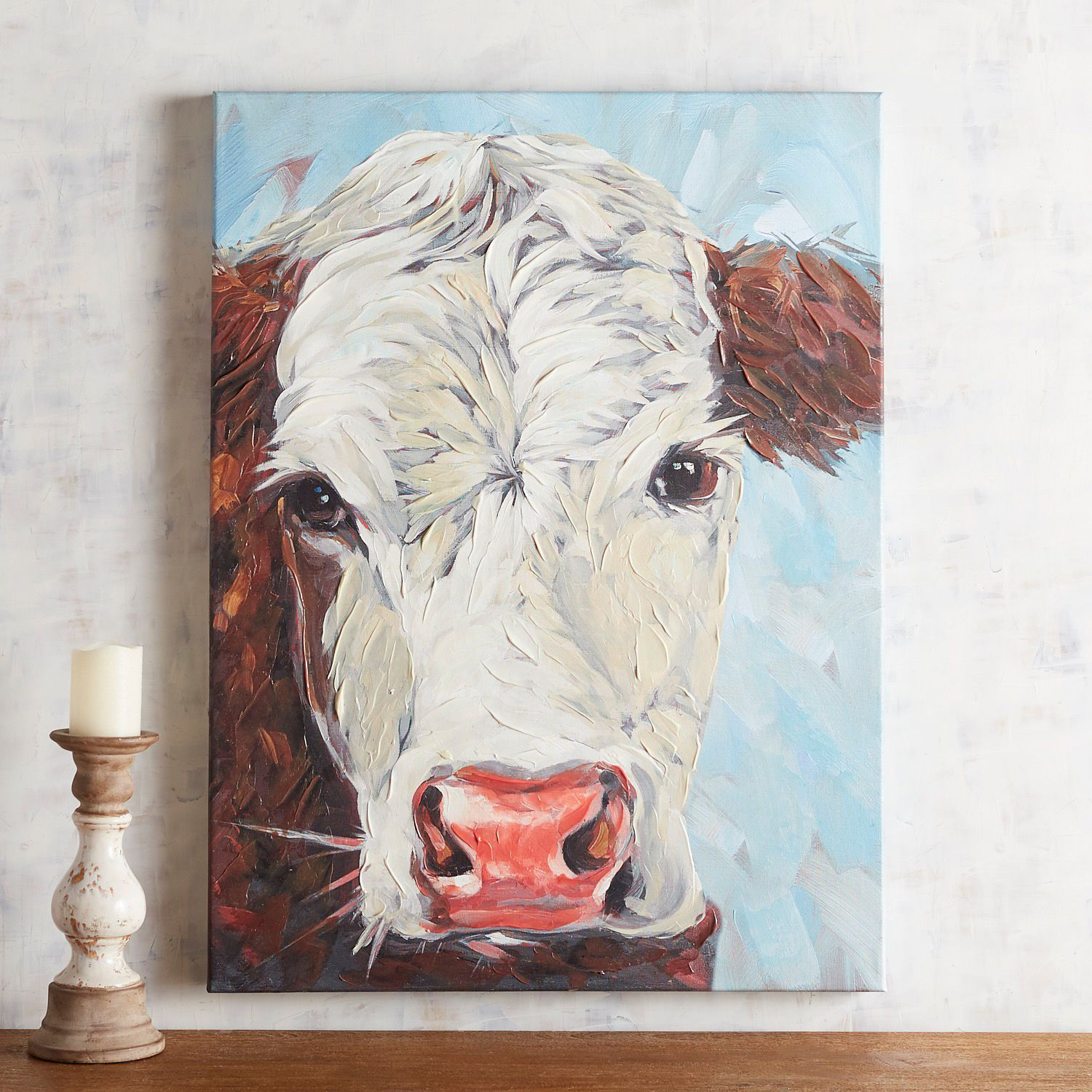 Hereford Cow Canvas Wall Art Cow Canvas Cow Painting Cow Wall Art