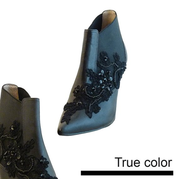 e0c0eb081ab6 HOLD for Diana only Steampunk Chelsea Boots Black w Stiletto Heels    Size  9 1 2 us 41 eu