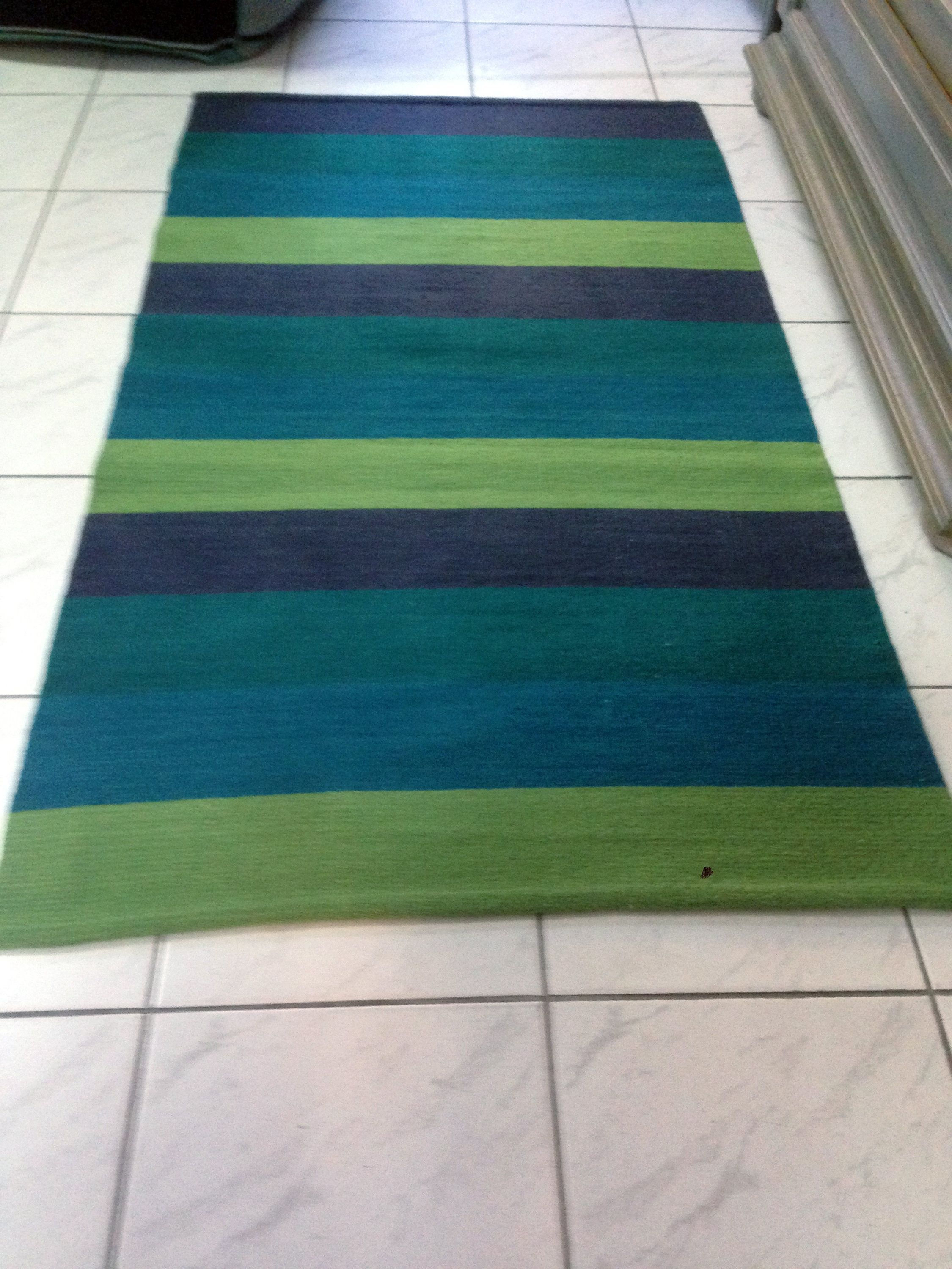 Handmade Wool Rug In Green And Blue Rainforest Handwoven Runner Striped Area Floor Made To Order Rugs By Dzevstudio On Etsy