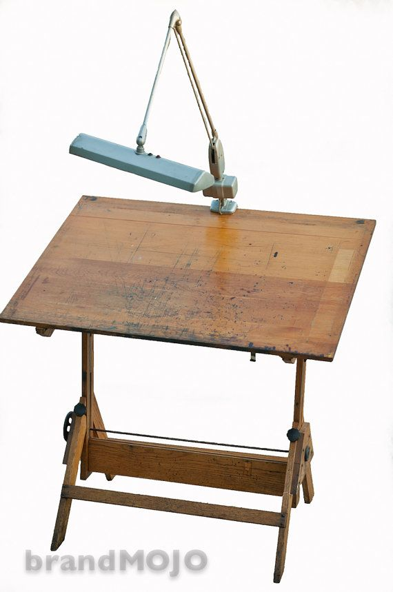 vintage industrial drafting table with vintage lamp | board, vintage